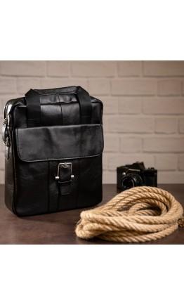 Кожаная черная сумка формата A4 BX8809A