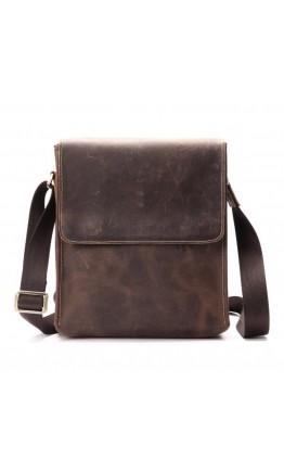 Коричневая сумка мужская на плечо, плотная кожа bx9382