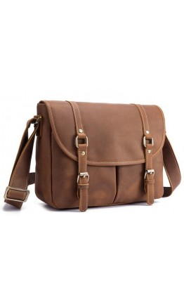Коричневая кожаная сумка на плечо bx9429
