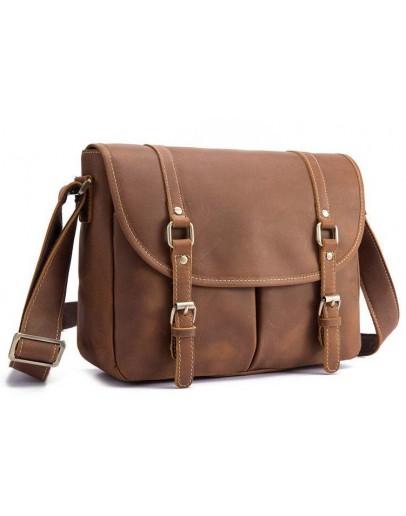 Фотография Коричневая кожаная сумка на плечо bx9429