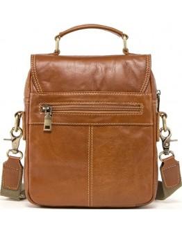 Мужская рыжая кожаная удобная сумка - барсетка CS0215-2