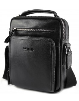 Черная кожаная мужская сумка на каждый день CS3061