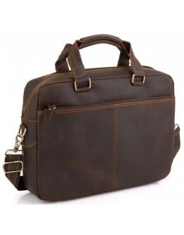 Сумка деловая кожаная винтажная коричневая Tiding Bag D4-005R