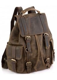 Винтажный кожаный коричневый рюкзак Tiding Bag D4-011R