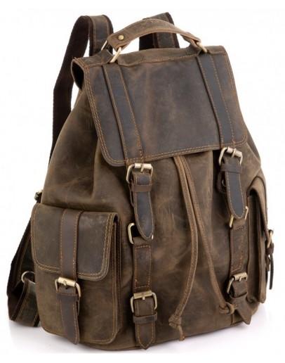 Фотография Винтажный кожаный коричневый рюкзак Tiding Bag D4-011R
