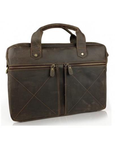 Фотография Сумка кожаная для ноутбука коричневая винтажная Tiding Bag D4-012R
