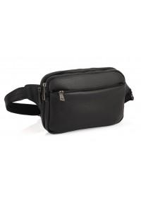 Кожаная черная сумка на пояс и на грудь Tarwa FA-0741-3md