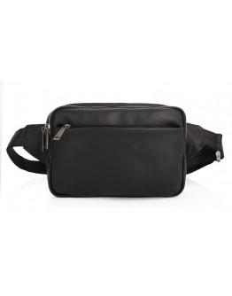 Черная сумка на пояс - бананка из кожи флотар Tarwa FA-0741-4lx
