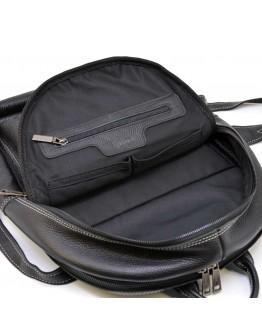 Кожаный черный рюкзак с белой ниткой TARWA FAw-7273-3md