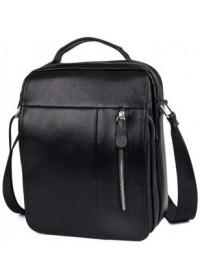 Большая удобная черная кожаная мужская сумка fr0101