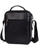 Фотография Большая удобная черная кожаная мужская сумка fr0101