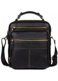 Чёрная удобная мужская кожаная сумка fr0601