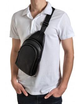 Мужской черный удобный слинг из натуральной кожи Zagora FZ-018-1