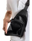 Фотография Мужской черный удобный слинг из натуральной кожи Zagora FZ-018-1