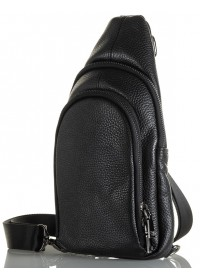 Мужской черный удобный слинг из натуральной кожи FZ-018-1