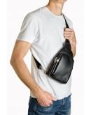 Фотография Черный кожаный мужской небольшой удобный слинг Zagora FZ-911-1