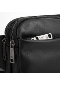 Черная сумка на пояс - бананка из кожи флотар Tarwa GA-0741-3md