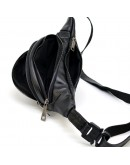 Фотография Кожаная сумка на пояс черная с черными молниями Tarwa GA-2406-3md