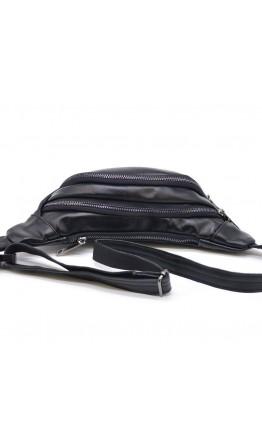 Кожаная сумка на пояс черная с черными молниями Tarwa GA-2406-3md
