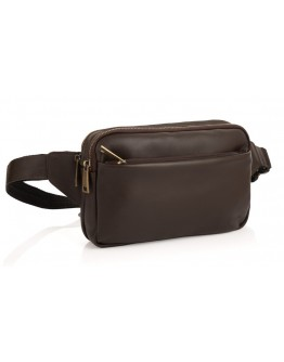 Коричневая сумка на пояс из гладкой кожи Tarwa GC-0741-3md