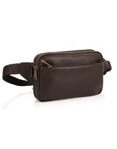 Фотография Коричневая сумка на пояс из гладкой кожи Tarwa GC-0741-3md
