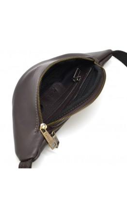 Коричневая кожаная небольшая сумка на пояс Tarwa GC-3034-3md