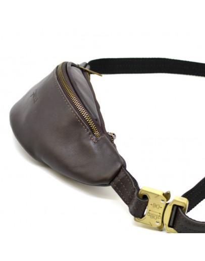 Фотография Коричневая кожаная небольшая сумка на пояс Tarwa GC-3034-3md