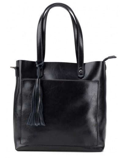 Фотография Черная женская кожаная сумка Grays GR-8870A