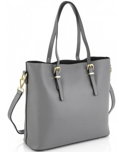 Фотография Женская кожаная серая сумка Grays GR3-173LBL