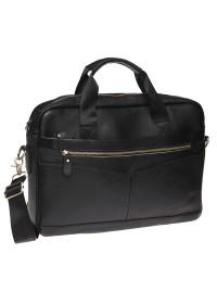 Черная кожаная сумка Borsa Leather K11118-black