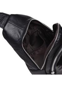 Кожаный рюкзак - слинг на плечо Keizer K1156-black