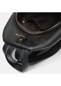 Черный кожаный женский рюкзак Borsa Leather K1162-black
