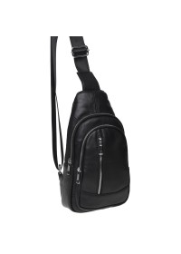 Мужской кожаный рюкзак - слинг Keizer K1168-black