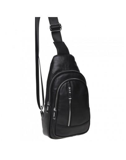 Фотография Мужской кожаный рюкзак - слинг Keizer K1168-black