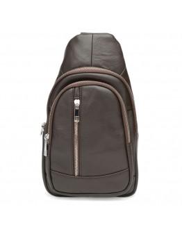 Мужской коричневый кожаный рюкзак - слинг Keizer K1168-brown