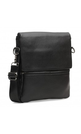 Черная сумка кожаная на плечо Borsa Leather K12056-black