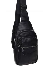 Рюкзак слинг мужской кожаный Keizer K13035-black