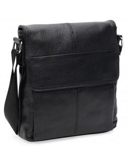 Кожаная черная мужская сумка на плечо Keizer K13107bl-black