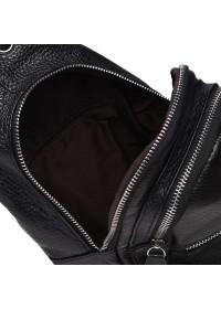 Черный рюкзак - слинг мужской Borsa Leather K1330-black