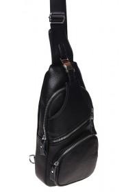 Черный кожаный слинг Borsa Leather K15026-black