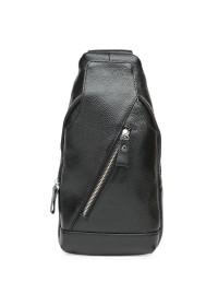 Черный слинг мужской кожаный Keizer k15029-black