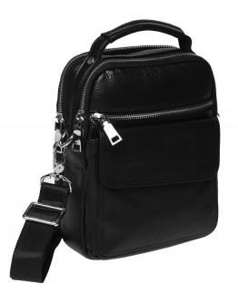 Черная кожаная сумка - барсетка Ricco Grande K16268-black