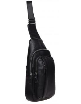 Слинг-рюкзак мужской кожаный Keizer K16601-black