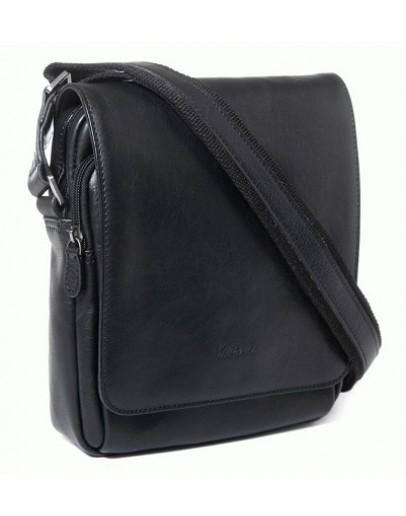 Фотография Черная кожаная плечевая мужская сумка Katana k39112-1