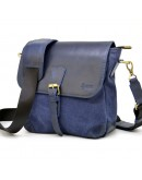 Фотография Синяя удобная кожано-тканевая сумка на плечо Tarwa KK-1309-4lx