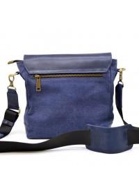 Синяя удобная кожано-тканевая сумка на плечо Tarwa KK-1309-4lx