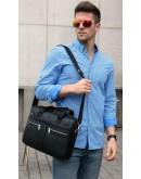 Фотография Кожаная мужская черная сумка KM0408-1