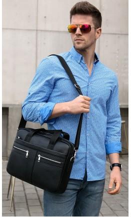 Кожаная мужская черная сумка KM0408-1