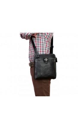 Мягкая мужская черная сумка на плечо 7206