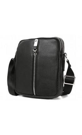 Стильная чёрная кожаная сумка на плечо 7233